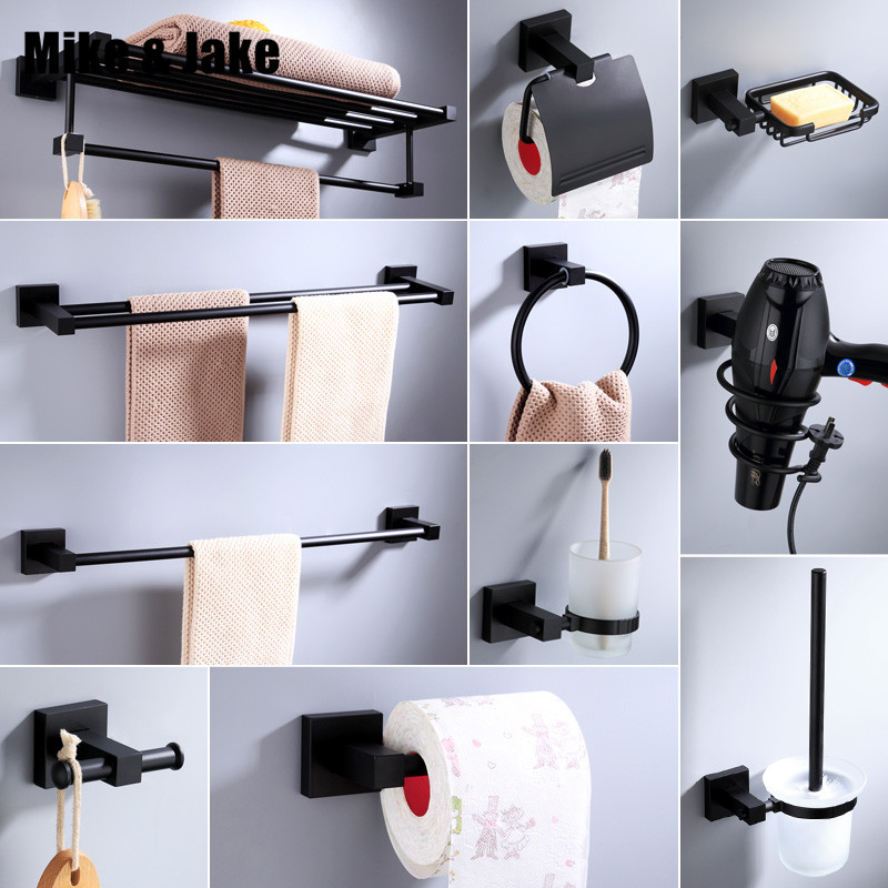 Black Bathroom Accessory Black Towel Shelf Paper Holder Towel Ring Holder Matt Black Bathroom Shelf Aluminum Bathroom Accessory