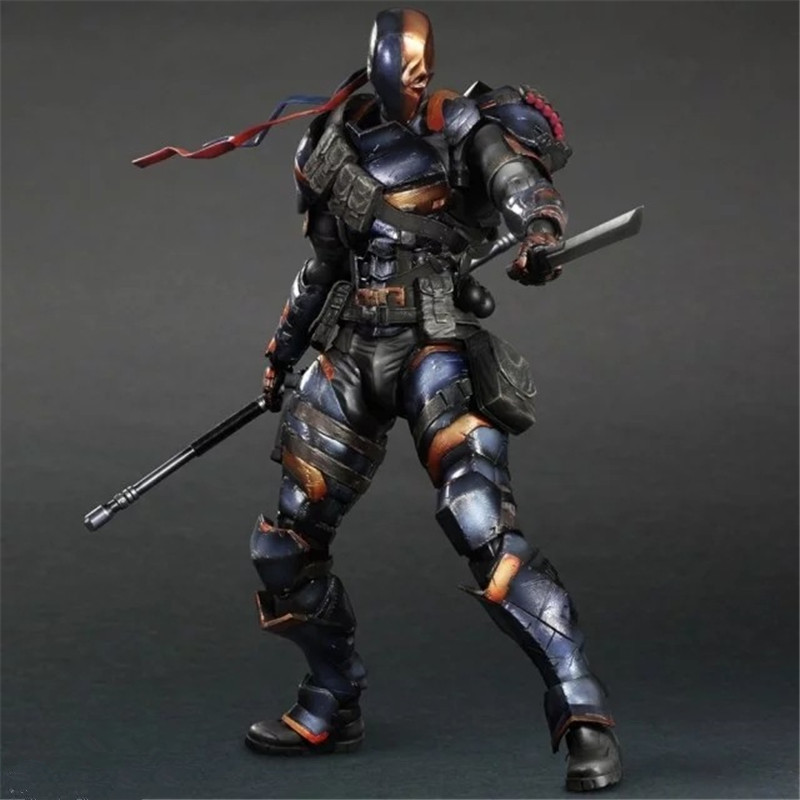 Play Arts KAI DC Comics Batman: Arkham Origins Deathstroke PVC Action Figure Collectible Model Toy L1079 batman the arkham city arkham origins the joker pvc action figure collectible model toy new in box wu439