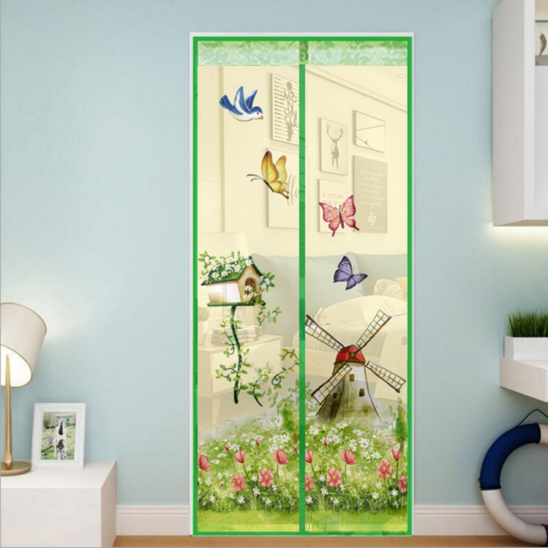Hot Closing Summer Style Mesh Net Window Screens Curtain Anti Mosquito Magnetic Tulle Shower Curtain Door Screen