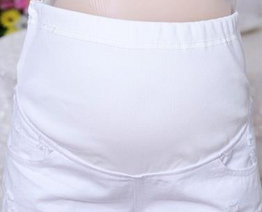 df123d6815533 Elastic Waist white Denim Maternity Shorts 2019 Summer Korean Fashion Hole Pregnancy  Jeans Clothes for Pregnant