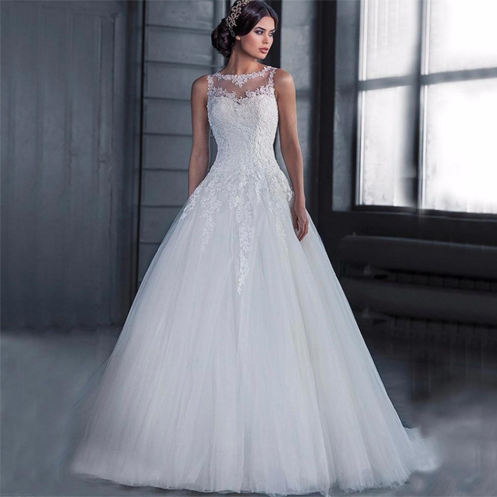 Fansmile Vestido De Noiva Long Sleeve Vintage Lace Ball Wedding Dress 2020 Train Bridal Wedding Tulle Mariage FSM-642T