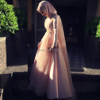 YNQNFS ED16 With Hijab Crystal Beaded Elegant A line Long Sleeves Arabic Turkey Muslim Evening Dress Pink Color