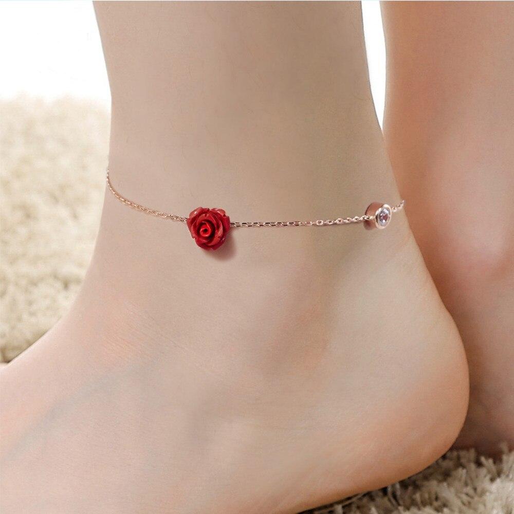925 Sterling Silver Rose Flower Anklet halhal Bracelet For Women Rose Gold Color Cubic Zirconia Fashion Elegant Summer Jewelry