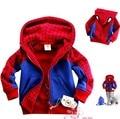 JW-015 Varejo na venda 2016 outono inverno moda infantil jaqueta casaco de homem aranha para os meninos outerwear crianças hoodies frete grátis