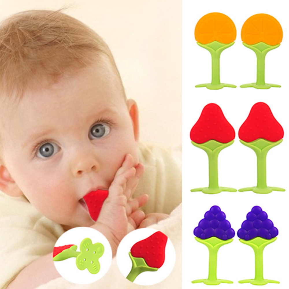 Safety Fruit Shape Baby Teether Baby Teething Toys Food Grade Silicone Teether Baby Dental Care Strengthening Tooth Training