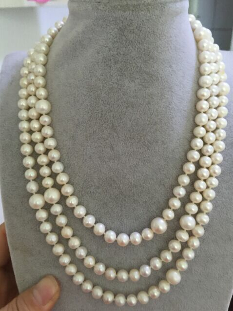 single strands 50inch south sea7-11mm round white pearl necklace 14KGP