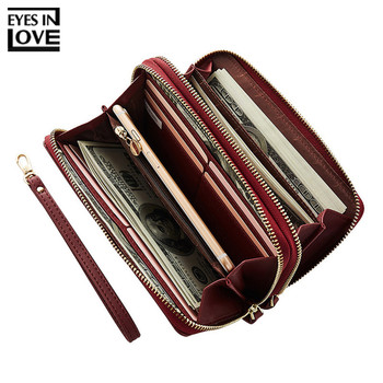 EYES IN LOVE Double Zipper Wristband Long Clutch Wallets For Women Large Capacity Card Holder Purse Phone Pocket Wallet Female