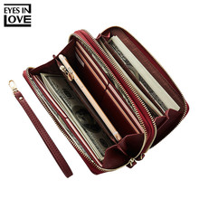 EYES IN LOVE Double Zipper Wristband Long Clutch Wallets For Women Large Capacity Card Holder Purse