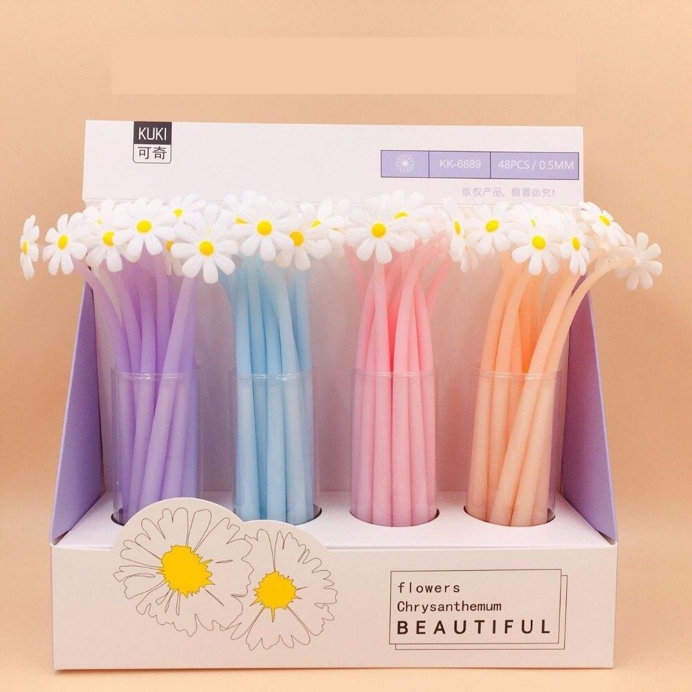 48pcs/lot 0.5mm Black Ink Chrysanthemum Plant Flowers Silicone Gel Pen Water Ink Roller Ball Pens Office School Supplies