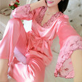2016 Autumn Women Ladies Sexy Flower Lace Satin Silk Pajamas Sets Long Sleeve Tops+Pants Sleepwear mujer Nightwear pyjama femme