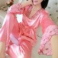 2016 Outono Das Senhoras Das Mulheres Sexy Flor Do Laço de Cetim Pijamas de Seda Define Tops de Manga Longa + Calça Sleepwear Nightwear pijama mujer femme
