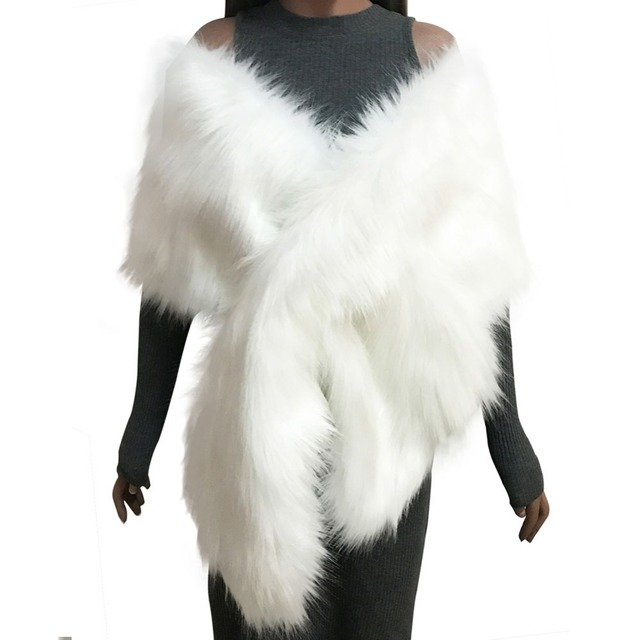 eeb0631a6 Women Faux Fur Coat Ponchos Capes Bridal Wedding Dress Wraps Fluffy Vest  Winter Coats Shawl Cape