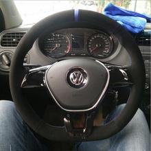 Genuine Suede Car Steering Wheel Cover for Volkswagen Tiguan new Jetta Passat  steering wheel cover hand scrub suede Car Kit