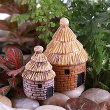 2 Pcs  Mini Country House Cottages for DIY Toys Crafts Figure Moss Garden Decoration Terrarium Figurines Miniature Figurines