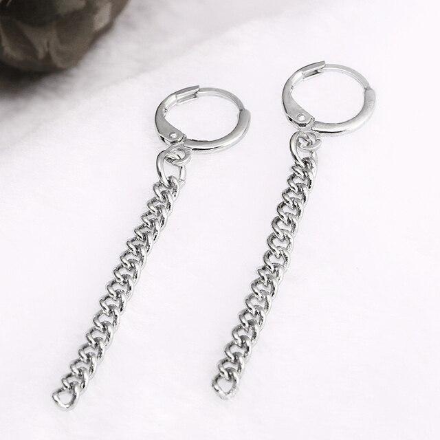 E0408 Punk Style Tassel Earrings For Men Women Korea BTS JIMIN Stud Earrings Statement Jewelry Exquisite