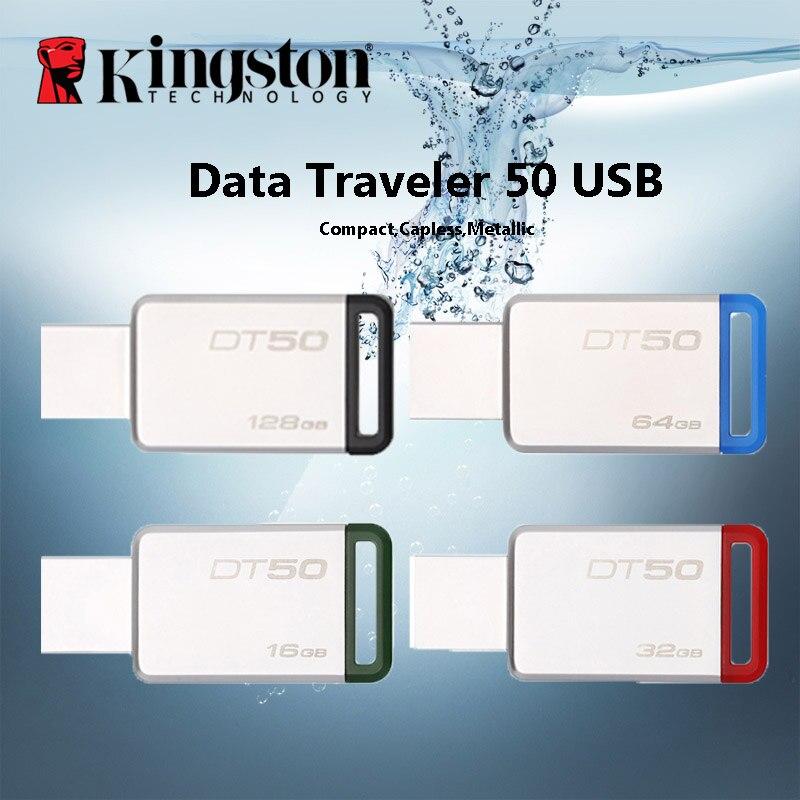 Kingston Digital DT50 USB 3.0 USB Flash Drive 16GB Pendrive 128GB 32GB Pendrive 64GBGB Metal Pen Drives 8GB Memory U Stick