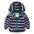 Полоса ребенок ребенок мужского пола с капюшоном верхней одежды куртка 2016 весна детской одежды u770