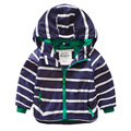 Stripe baby male child with a hood outerwear outdoor jacket 2016 spring children's clothing u770
