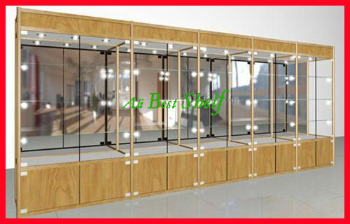 2014 Glass Display Cabinet Wood Color Aluminum Showcase With Lights And  Storage Cabinet