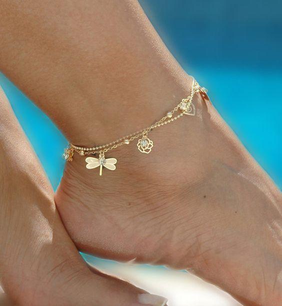 Female Butterfly Anklets  Barefoot Crochet Sandals Leg Bracelet Foot Anklet Bracelets For Women Chain