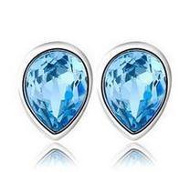 где купить 2015 New arrival free shipping blue heart 925 sterling silver female stud earrings jewelry wholesale gift по лучшей цене