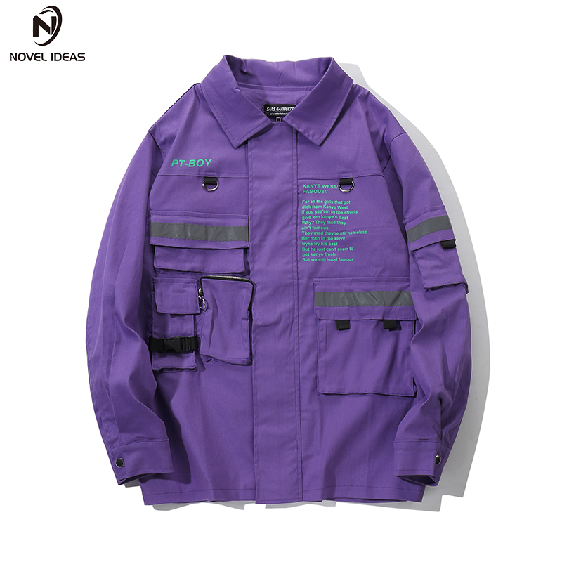 Letter printing Track Jackets Thin Men Hip Hop Casual Full Zip Up Jacket Streetwear Male 2018 Fashion Jacket Coats US Size