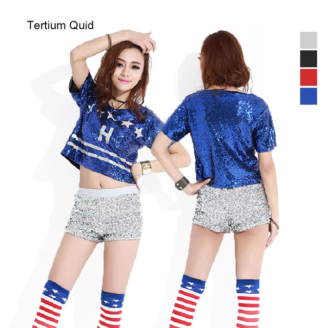 445e690066f7ee Hip Hop Sequined Tops Club Party Costume Hot Sexy Feminino Sequin Crop Tops  Women 2018 T-Shirt Feminina Dance Top Chest 86-106cm