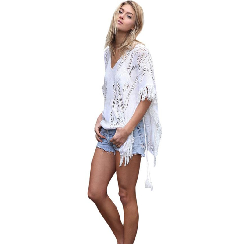 60f3949184 Women swim suit cover up beach wear tops tassel knitting swimwear dresses  swimsuit bikini cover ups