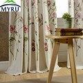MYRU штора из хлопка и льна с вышивкой для спальни и гостиной