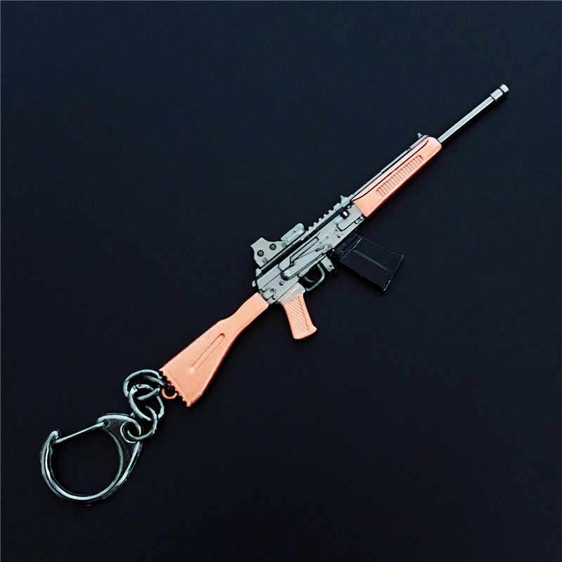 لعبة PUBG سلاح بندقية نموذج المفاتيح 98 K AWM VSS مفتاح حامل سبائك مفتاح سلسلة تأثيري مجوهرات حجم 10 سنتيمتر