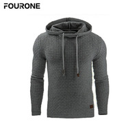 High Quality Men Autumn Winter Jacquard Hoodie Pullover Plaid Long Sleeve Drawstring Sweatshirt