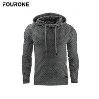 High Quality Men Autumn Winter Jacquard Hoodie Pullover Plaid Long Sleeve Drawstring Sweatshirt