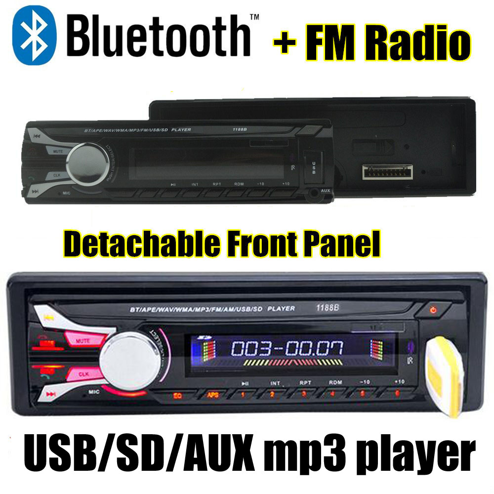New12V Car audio FM Radio bluetooth MP3 Audio Player with USB/SD MMC bluetooth car audio separate detachable front panel