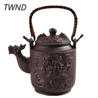 780ML Drachen Yixing Tee Topf Lila Ton Teekanne mit griff Zisha Wasserkocher Kung Fu Drink Große Kapazität Anzug Puer tie Guanyin-in Teekannen aus Heim und Garten bei