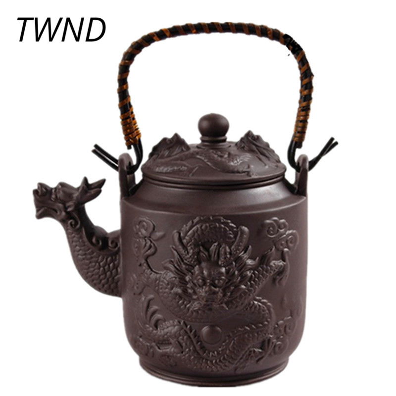 780ML Dragon Yixing Teapot Purple Clay Tea Pot with სახელური Zisha Kettle Kung Fu Drinkware Large Capacity 13.7