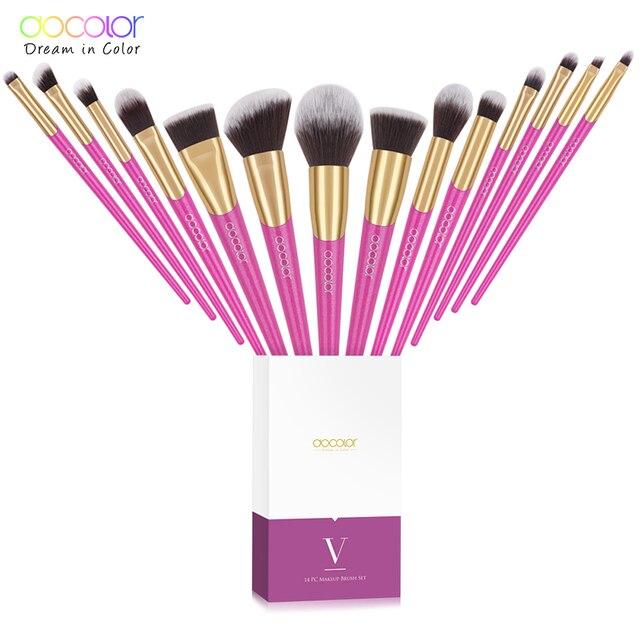 Docolor Makeup Brushes Set 14PCS Professional Make Up Brushes New Brushes for Face Makeup  Foundation Powder Eyeshadow Brushes 6