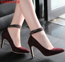 Ankle-Wrap Closed Toe Pointed Toe women pumps Thin Heels Rhinestone Platform pumps Buckle Strap Flock shoes women