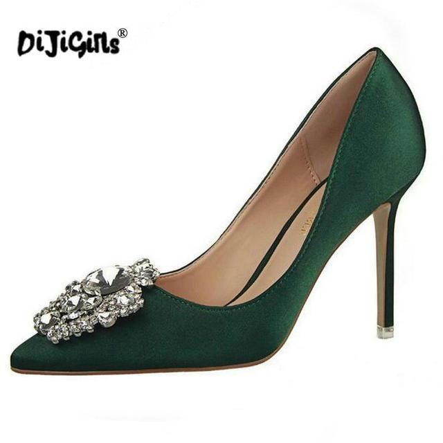 00d7a6c56c1 Silver Gold Gray Black Pink Women Bridal Wedding Shoes Faux Silk Satin  Rhinestone Crystal Shallow Woman