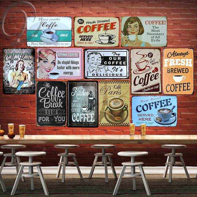 Kitchen Signs For Home Ceiling Fixtures Tin Coffee House Metal Wall Decor Vintage Plaques Posters Plates