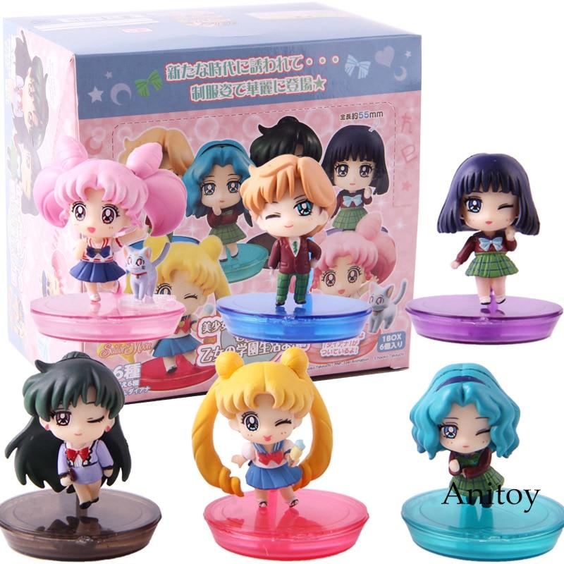 Petit Chara! Sailor Moon School Life Tsukino Usagi Chibi Usa Sailor Saturn Uranus Neptune Pluto PVC Action Figures Toys 6pcs/set