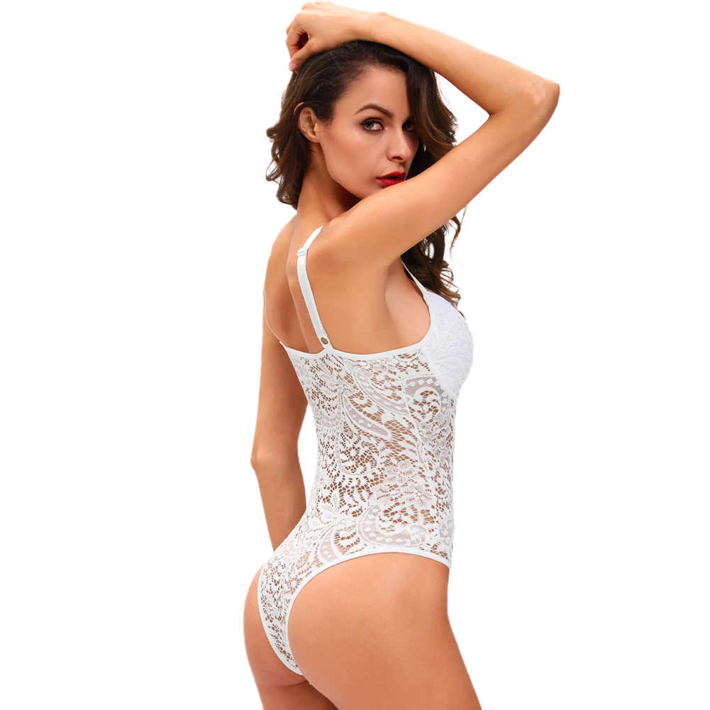 6f597fca2ef7 ... Hot Sexy Women Semi-sheer Bodysuit See-through Mesh Lace Overalls  Jumpsuit White/ ...
