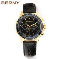 Берни Для мужчин часы кварцевые Для мужчин S Часы модный топ Элитный бренд Relogio Saat Montre horloge masculino erkek Hombre Японии двигаться Для мужчин t
