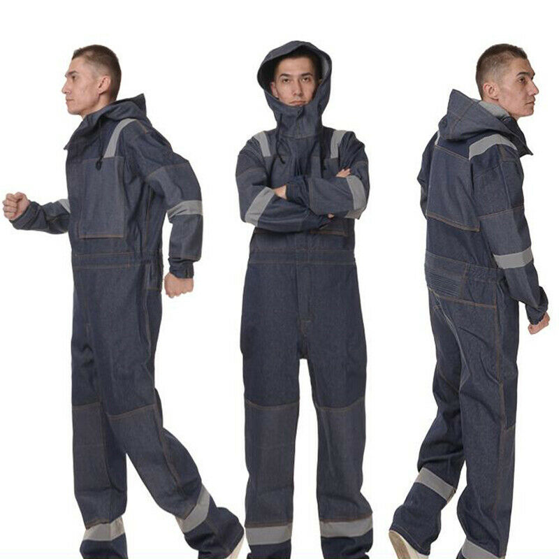 Denim Long Sleeve Hooded Overall Boilersuit One-piece Workwear Boiler A8