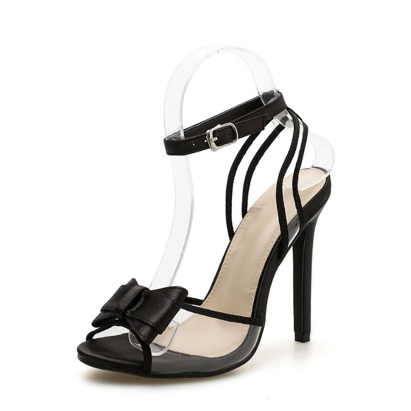 Moda Del Baja Ayuda Película Zapatos Alta Dedo Negro Mujer Las Pvc Lazo Fragrantlily Sexy De Abierto Sandalias Talones Mujeres Transparente Banquete Elegante Pie 6qnT1xZw
