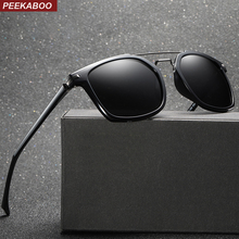 f6555ef76d96 Peekaboo tr90 frame sunglasses men polarized TAC 1.1 brown matte black  square sun glasses for men