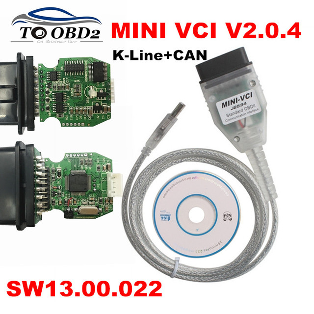 Real Firmware V2 0 4 MINI VCI Newest V13 00 022 Supports K-Line CAN-BUS  MINI-VCI Dual K+CAN Interface V2 0 4 J2534 TIS