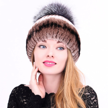 Winter Fur Hats Women Casual Patchwork Rabbit&Fox Fur Po