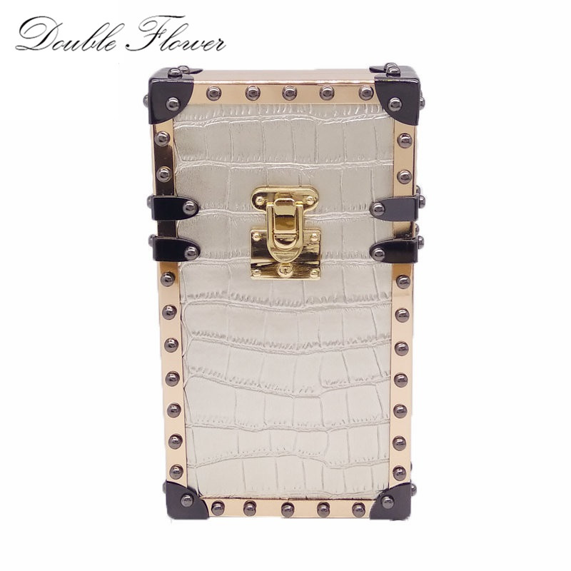 Phone Case Silver Alligator PU Metal Evening Purse Crossbody Bags For Women Day Clutches Box Clutch Bag Chain Shoulder Handbags