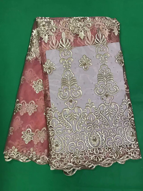 Wholesale pink nigerian beaded lace fabrics 2017 high quality african french net lace fabric for font