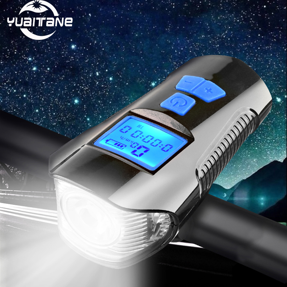 Bicycle Headlight USB Rechargeable Bike Front Head Light Dual LED Lamp With Horn